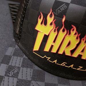 63d21ae9291 Vans Accessories - Vans x Thrasher Skateboard Magazine Trucker hat